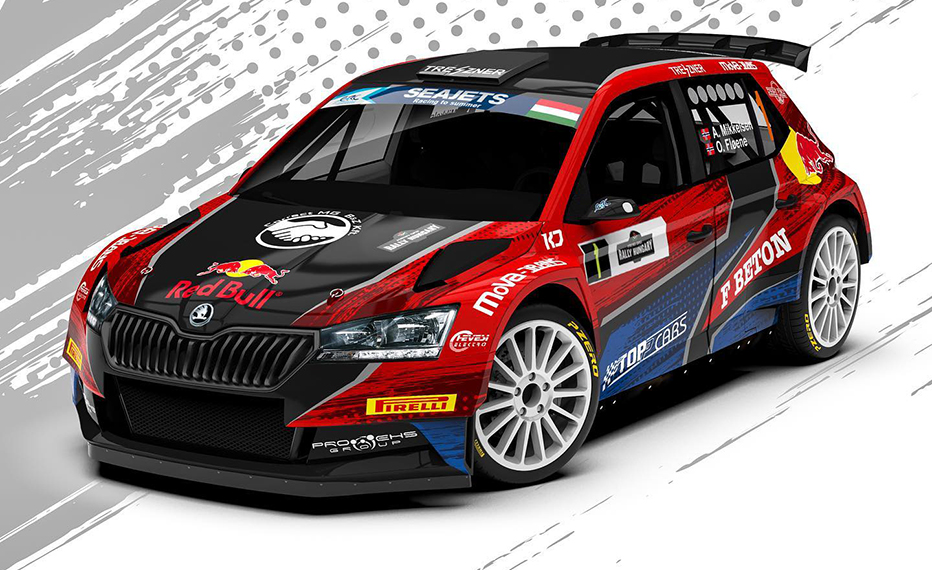 Mikkelsen with Skoda Fabia Rally2 Evo in ERC Hungary